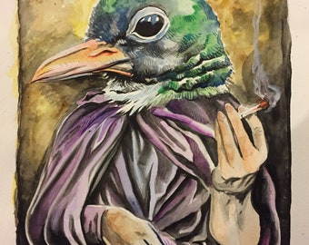 Original watercolor gouache surrealist painting by Charles State   Smoking bird