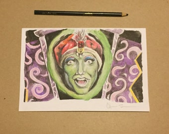 Original watercolor painting of Jambi from pee wees playhouse  charles state