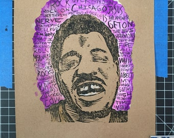 Wesley Willis one of a kind print/watercolor /ink signed print by Charles State
