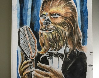 """Crooning Chewbacca original 6x9"""" watercolor painting signed Star Wars"""
