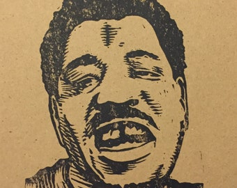 Artist proof print of Wesley Willis by Charles State rock over London rock on Chicago