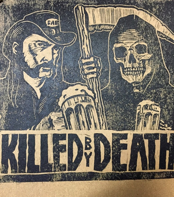 Lemmy kilmister killed by death linoleum block print charles state signed  and numbered