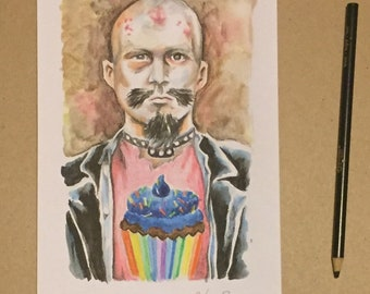GG Allin cupcake rock and roll warrior original watercolor painting by charles state