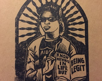 Saint eazy hand pulled block print by Charles State eazy e dr dre ice cube nwa rap hip hop