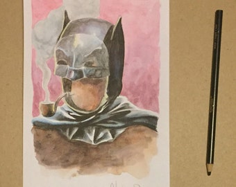 Smoking batman surrealist watercolor painting original signed by artist Charles State