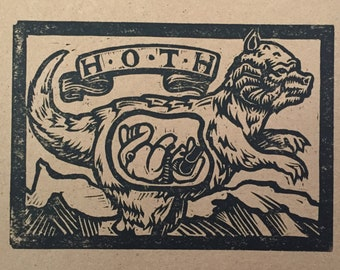 Tauntaun and luke on hoth hand pulled and signed block print by Charles State