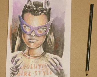 Eartha kitt as riot grrrl catwoman batman 66 signed original watercolor painting