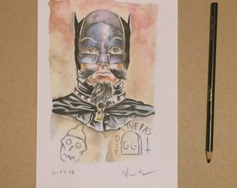 G.G. Allin as batman 66 original watercolor painting signed by artist Charles State
