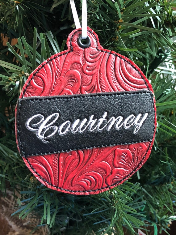 Western Christmas Tree Decorations.Personalized Western Christmas Ornament Gift Tag Embroidered Ornament Rustic Christmas Ornament