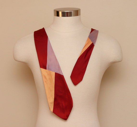 Vintage 1940s red, violet, and peach color block r