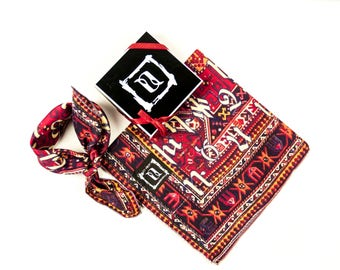 Armenian Alphabet silk neck tie bandana scarf on antique rug image by Anet's Collection