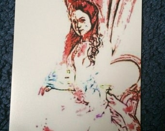 Lady In Black(Red) 4x6 Art Print