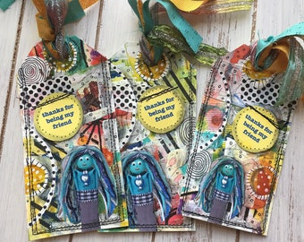 Best Friend Gift Tag, Handmade Book Accessory Gift, Altered Mixed Media Art Tag Bookmark, Friend Bookmark Gift for Her