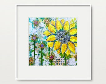 Sunflower Home Decor Wall Art Mixed Media Collage Print, Square Wall Hanging Art Print, Sunflower Wall Decor, Gift for Friend