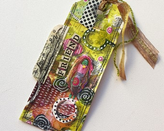 Best Friend Book Accessory Gift, Altered Mixed Media Art Tag Bookmark, Friend Bookmark Gift for Her