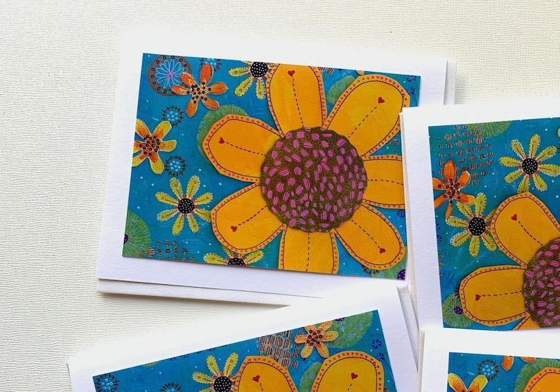 Handmade Blank Greeting Cards Sunflower Gift for Her Sunflower Art Card Set Sunflower Cards Notecard Handmade Stationery