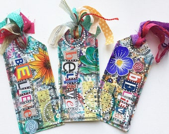 Best Friend Book Accessory Gift, Altered Mixed Media Art Tag Bookmark, Believe Bookmark Gift for Her