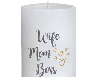 Wife Mom Boss Pillar Candle