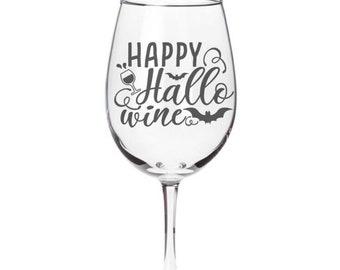 Happy Hallo Wine Glass