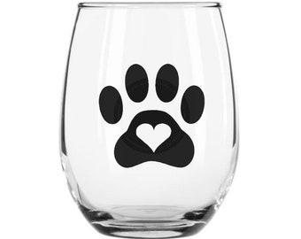 Animal Paw Print Wine Glass
