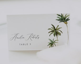 Palm Tree Wedding Place Cards  Wedding Guest Escort Cards
