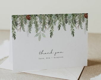 Editable Text with Corjl #05 Rustic Pine Thank You Card Template Flat or Folded