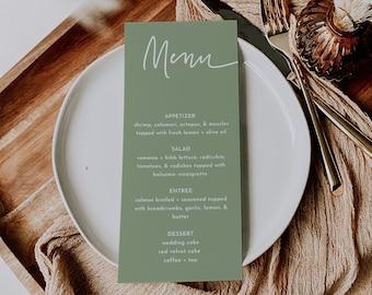 Instant Download Greenery Invite Editable Template,Rustic,Farmhouse Menu Card,DIY Wedding,Outdoor Sage Minimalist Menu Template MAYA