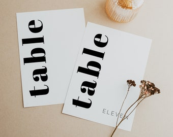 Chloe   Modern Table Number Template, Editable Table Numbers, Bold Wedding Decorations, Table Number Template, Simple Table Numbers Wedding