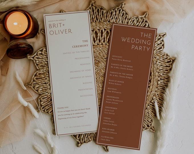 Inez | Boho Wedding Program, Burnt Orange Wedding Program Template, Printable Terracotta Wedding Program Editable,