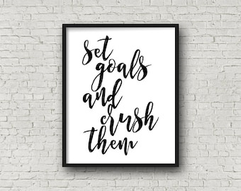 Set Goals And Crush Them, Motivational Poster, Fitness Motivation, Inspirational Wall Art, Typography Print, Weight Loss Motivation, Prints