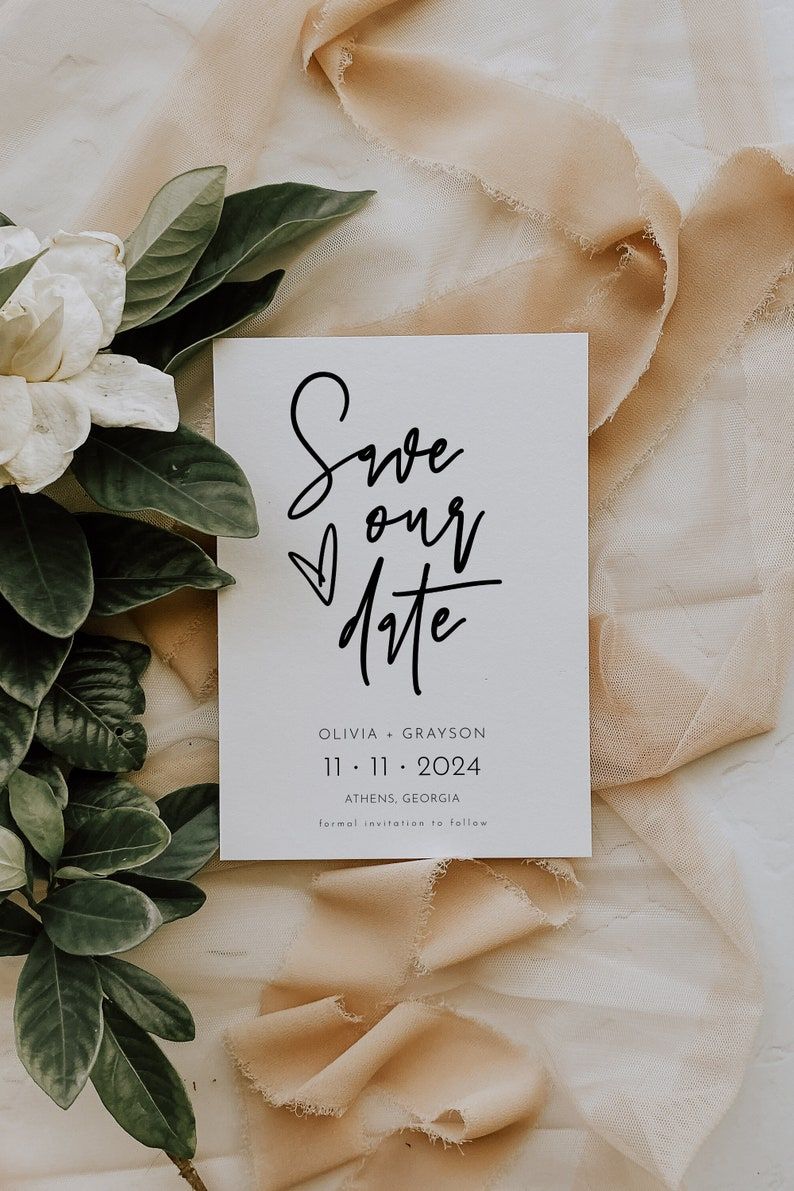Heart Save The Date Save the Date Wedding Announcement Printable Simple Minimalist Save The Date Template Sofia Modern Save The Date