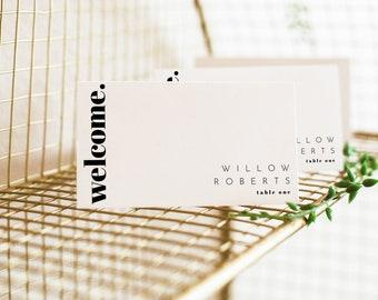 Chloe   Editable Place Card Template, Bold Minimal Wedding, Modern Wedding Place Cards, Minimal Place Card Template, Simple Wedding Cards