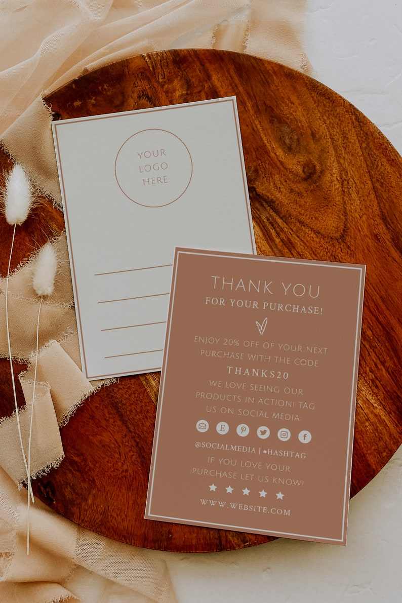 Small Business Packaging Business Packaging Insert Terracotta Small Business Thank You Card Printable Printable Thank You Cards Business