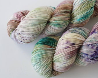 Into The Great Unknown, 2 ply, sock yarn, fingering yarn, hand dyed yarn, indie dyed yarn, hand painted, speckled yarn, Bay Street Yarns