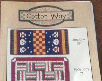 Table Runner of the Month, Cotton Way designs, January table runner, snowman table runner, quilted table runner, embroidered table runner