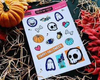 Sticker set cute / grunge skulls, ghost, pumpkin, creatures waterproof vinyl