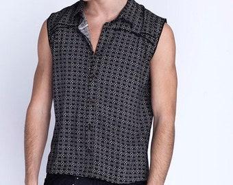 Men Shirt, Burning Man Vest, Sleeveless Shirt, Men Top, Festival Clothing, Summer Shirt, Psychedelic Print Top, Psy Trance Clothing, Beach