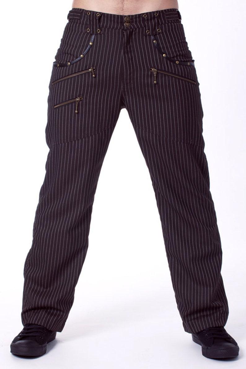 Steampunk trousers Funky pants Festival pants Striped pants goth pants Ps Hot pants Circus pants Mens pants Burning man pants