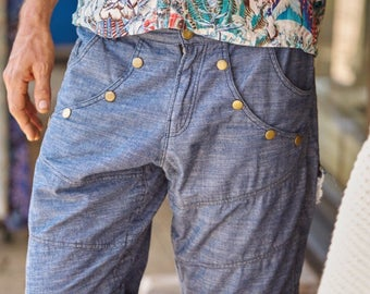 Men Shorts, Men Denim Shorts, Festival Clothing, Jean Shorts, Psy Trance Goa, Burning Man Clothing, Cyberpunk Shorts, Summer Shorts