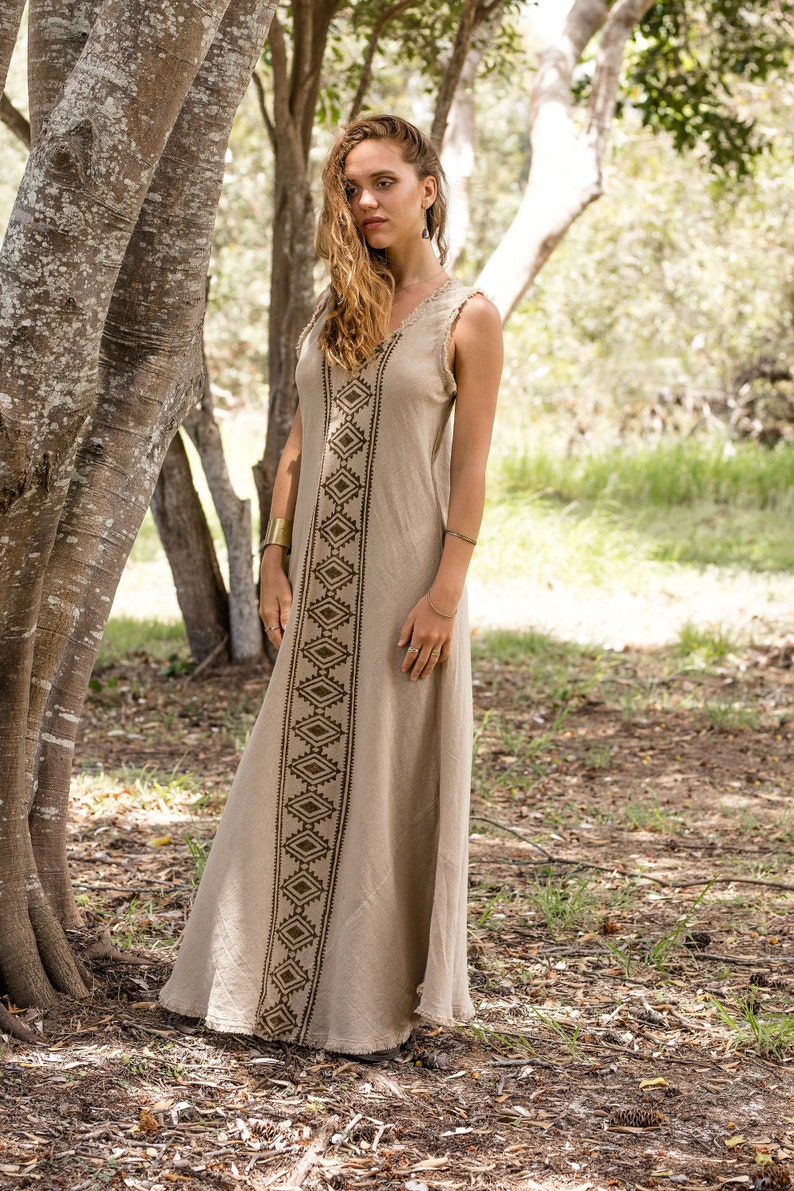 Block Printed Dress Earthy Clothing Tribal Maxi Dress Ethnic Dress Bohemian Dress Summer Beach Dress Raw Cotton Dress Tribal Clothing