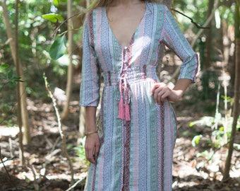 Boho Maxi Dress, Kaftan Dress, Bohemian Clothing, Tribal Print Dress, Goddess Dress, Festival Dress, Elven Clothing, Gypsy Caftan, Long