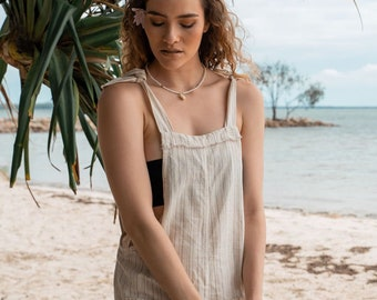 Natural Linen Jumpsuit, Linen Dungarees, Boho Clothing, Striped Linen Overall Shorts, Linen Clothing, Hippie Romper, Holiday Boho Wear