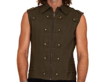 Green Mens Vest, Festival Clothing, Steampunk Vest, Cyberpunk Clothing, Pirate Vest, Rave Clothing, Burning Man Vest, Psychedelic Clothing