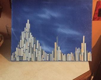 Original Absract Texture Canvas Painting. Blue City Mosaic.