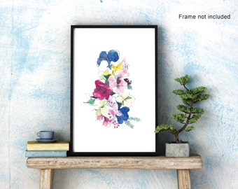 Flower blooms  – watercolour A3 art print