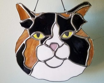Custom Pet Portrait - Handmade, One of a Kind Stained Glass Sun Catcher - Your Pet in Glass! - CHRISTMAS DEADLINE NOV 11
