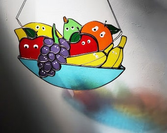Fruit Friends Sun Catcher - Fruit Salad Stained Glass - Handmade Silly Decor - Ready to Ship!