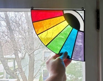 Window Corner Stained Glass Rainbow Maker - Watchful Eye Sun Catcher - Handmade Mobile - Made to Order
