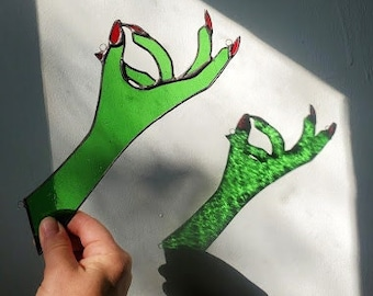 Creep Hand - Witch Hand Stained Glass for Window or Corner - Handmade Sun Catcher - Ready to Ship!