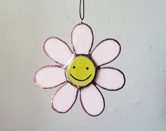 Smiley Face Daisy Mini Sun Catcher - Handmade Stained Glass - Made to Order
